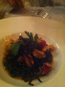Homard Breton, tagliolini with cuttlefish ink, chorizo and mussels at Frenchie bar a vins