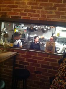The Frenchie team in the tiny kitchen