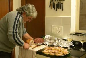 Carving the roast pork