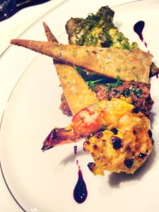 The prawn, chicken and lamb kebab platter
