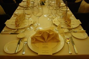 The table set for dinner – Ritz-Carlton Bangalore