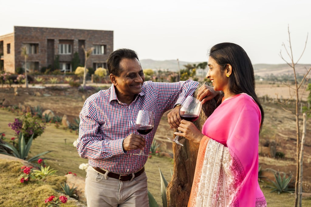 Krishna Prasad and Uma Chigurupati at the KRSMA winery