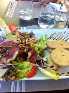 The foie gras salad at Séguret, one sunny afternoon lunch