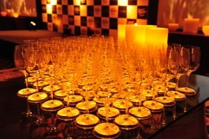 Wines glasses at the Leela Palace – VA Reserve Collection launch