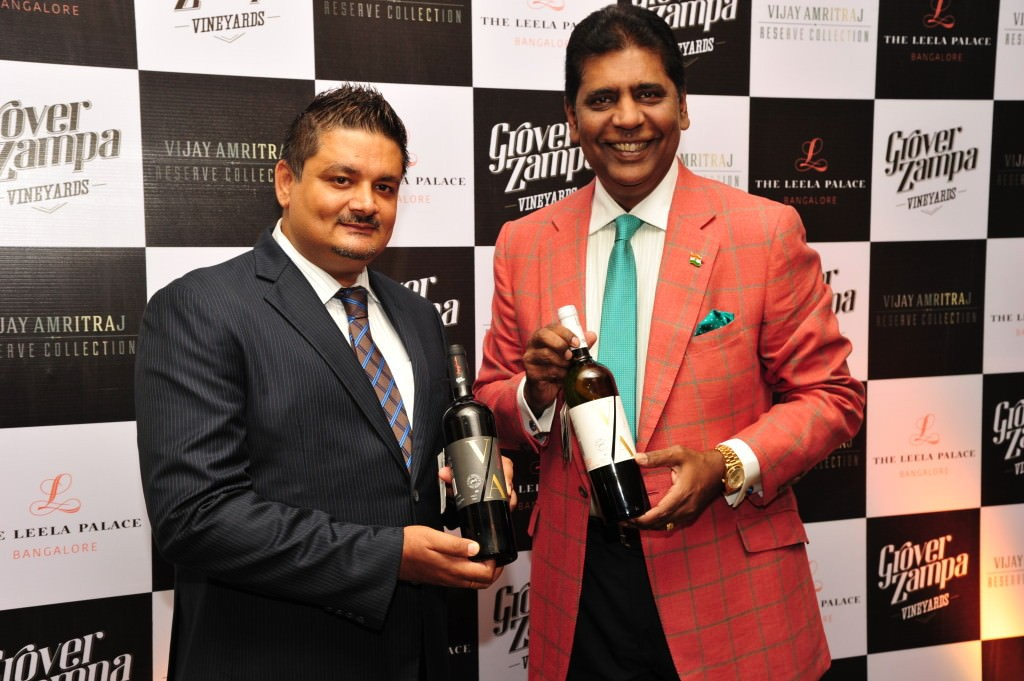 Grover Zampa CEO Sumedh Singh Mandla with Vijay Amritraj at the launch of his wines at the Leela Palace, Bangalore