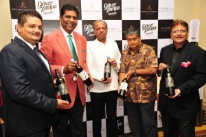 The Grover Zampa team, including founder Kapil Grover, with Vijay Amritraj at the launch