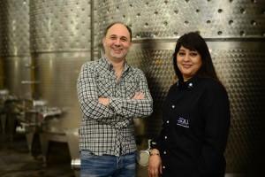 Winemaker Andrea Valentinuuzi and Shaambhavi Hingorani