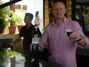 Nicke Pringle tends bar with Hardy's wines at the SulaFest
