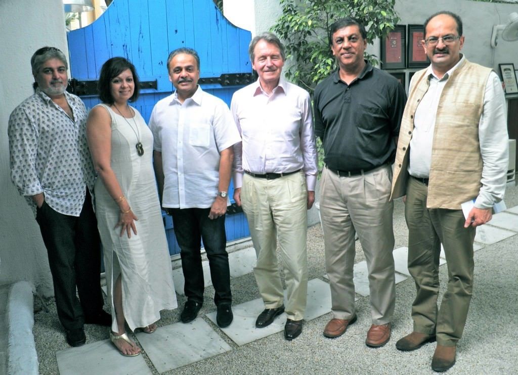 Bangalore's wine aficionados at lunch with Steven Spurrier. From left: Rishad Minocher, Ruma Singh, V Natarajan, Steven Spurrier, Alok Chandra, Chetan Kamani