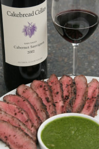 Cakebread Cabernet Sauvignon with steak and chimchurri sauce