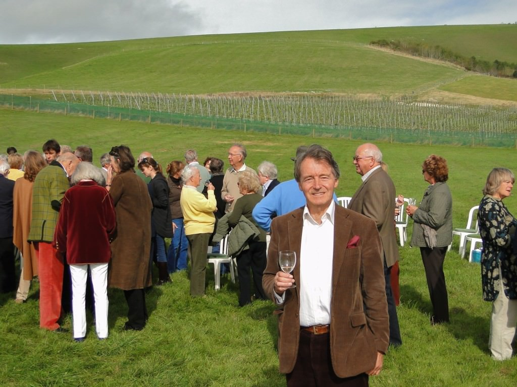 Steven Spurrier picnics to celebrate his 70th birthday at Bride Valley, England. Photo courtesy Decanter