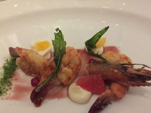 Grilled shrimps, arugula, gorgonzola, pomegranate dressing