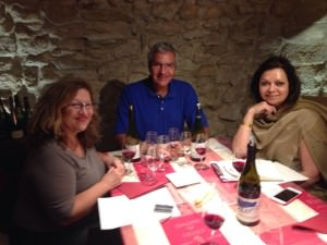 Tasting the Isavel Ferrando Colombis Chateauneuf du Pape 2011 with Dominique and Lionel Michelin in their cellar