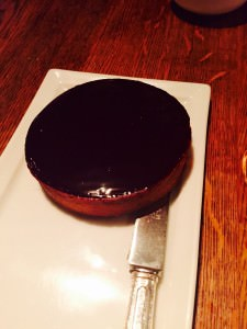 The stunning chocolate tart, part of the dessert at Spring