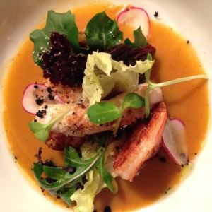Seafood bisque served with the salus Staglin Family Vineyard Estate Chardonnay 2012