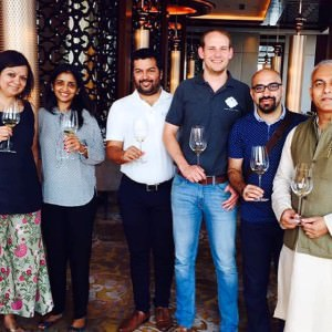 With Uma Chigurupati, Business head Vishal Nagpal, winemaker Adriaan Foot (KRSMA Estates), Aneesh Bhasin and Kripal Amanna at the tasting