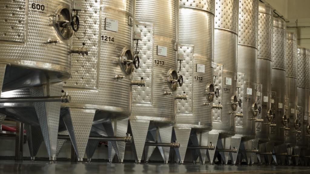 Steel and more: Giant stainless steel tanks dominate the new winery