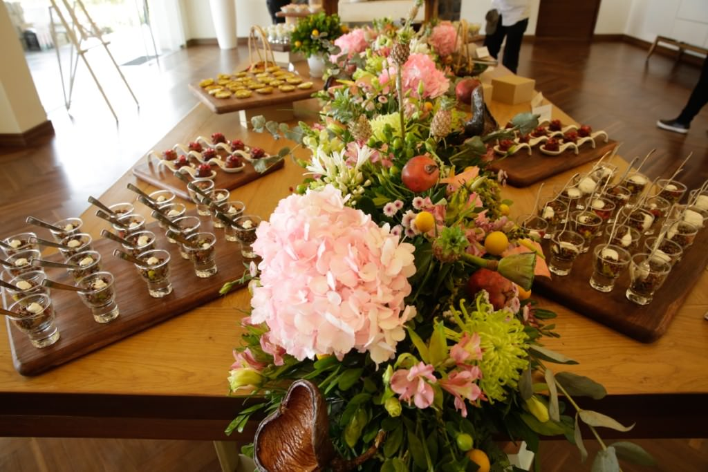 Flowers and food: The brunch buffet at the launch party