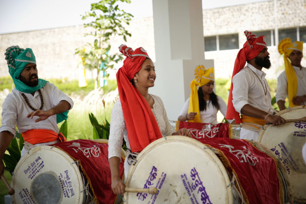 Traditional drummers welcome the guests to the winery in Nashik
