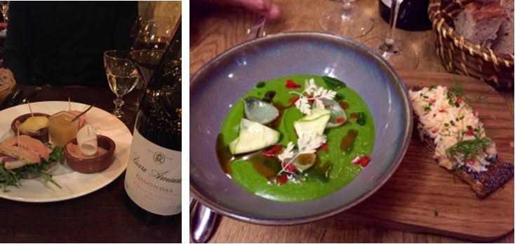 Foie gras platter at Le Petit Prince. Tortellini, petit pois, ricotta et bouillon de champignon, Frenchie bar a vins