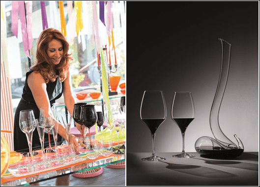 Eva Riedel (left); Vitis glasses with the Eve decanter, named after her.