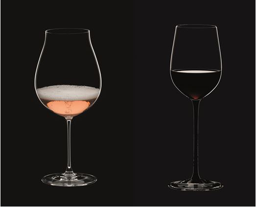 The Riedel New World Pinot Noir glass (left); the Sommelier Black Tie mature Bordeaux glass (right)