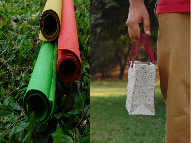 Grape waste paper in different colours (left); gift bag (right)