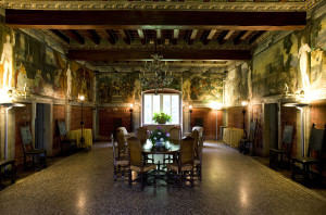 Villa Margon - salon of Charles V where we had our sit-down lunch. Note the fabulous frescoes on the walls