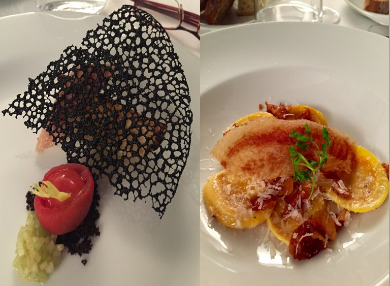 Dinner at Locanda Margon: Roasted green celery, smoked eel, tomato, Ulidea Olive dressing, Tosazu vinegar (left); Home-made ravioli, Amatrice style (right)