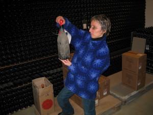 Maria Teresa at the vinotheque. Image courtesy FineWineeGeek.
