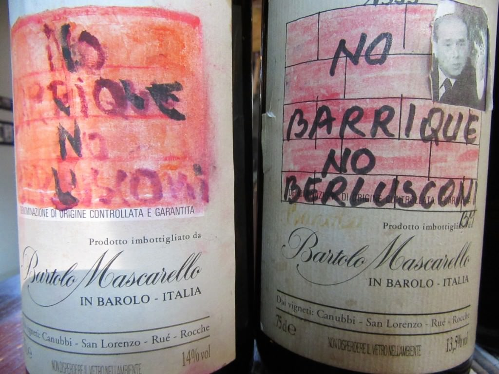 "'No barrique, no Berlusconi"" Bartolo's handmade labels"