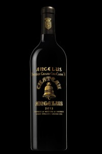 The famous black label of the 2012 vintage of Chateau Angelus, the year it became a Grand Cru Classe A
