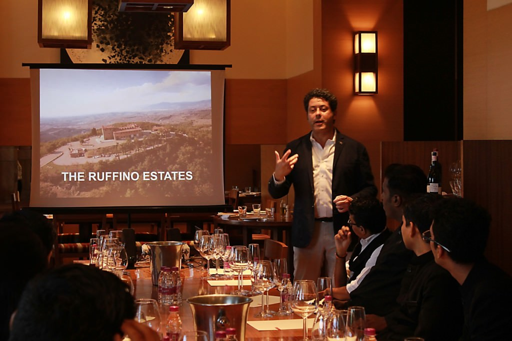 Ruffino's Tommaso Alessandri during a masterclass in India