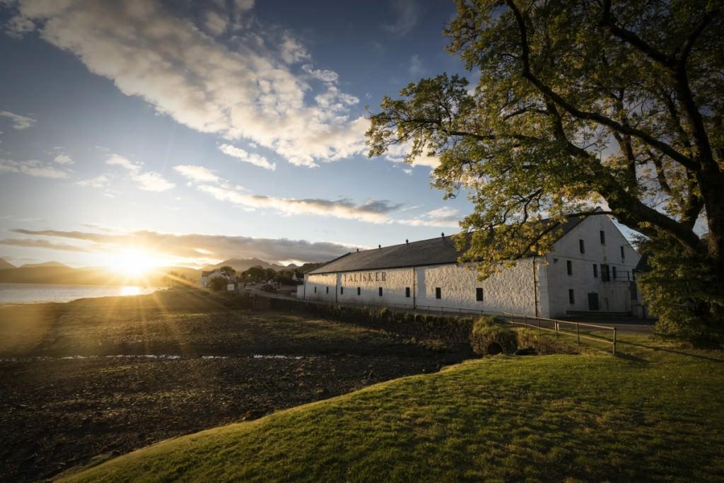 the Talisker distillery at sunrise