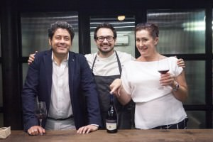 Tomasso Alessandri with Emma Hammonds, Regional Director, Constellation Brands (right) and Chef Alex Sanchez in Mumbai