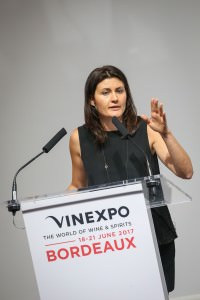 Gaia Gaja speaks on climate change at the Fire and Rain session at Vinexpo 2017. Photos: Vinexpo/Phil-Labeguerie