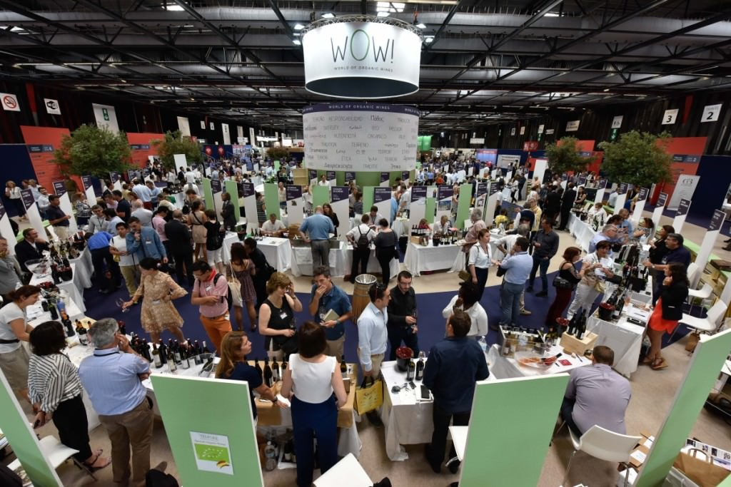 A view of the WOW! (World of Organic Wine!) section at Vinexpo 2017